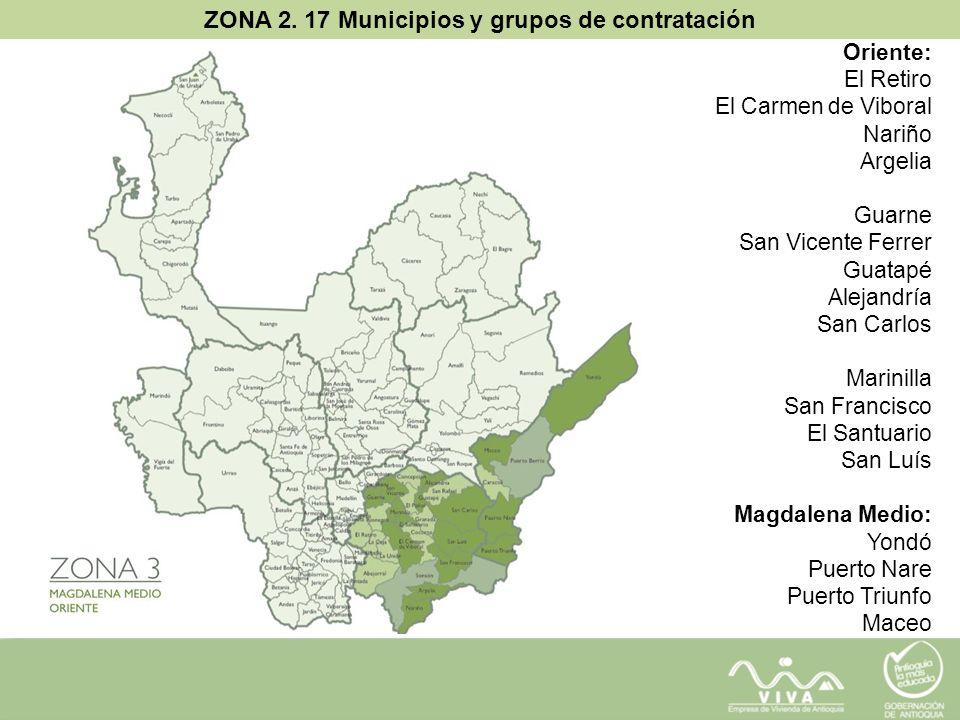 ZONA 2. 17 Municipios y grupos de contratación Oriente: El Retiro El Carmen de Viboral Nariño Argelia Guarne San Vicente Ferrer Guatapé Alejandría San