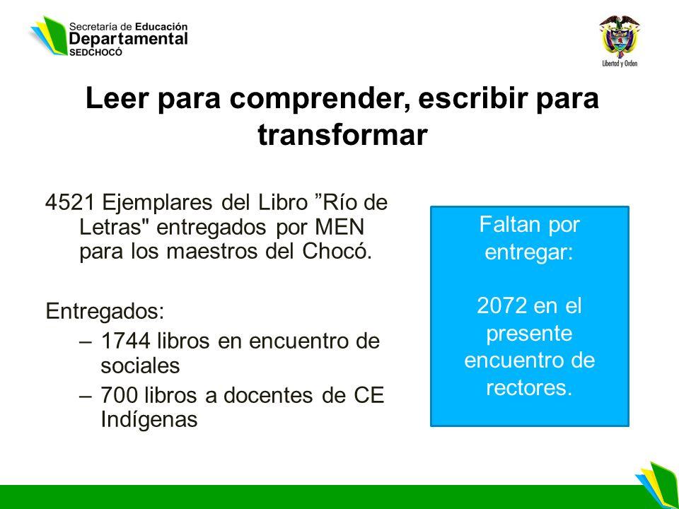Leer para comprender, escribir para transformar 4521 Ejemplares del Libro Río de Letras