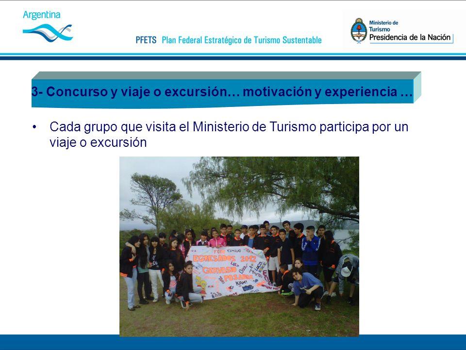 3- Concurso y viaje o excursión… motivación y experiencia … Cada grupo que visita el Ministerio de Turismo participa por un viaje o excursión
