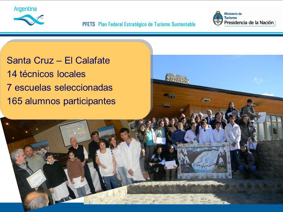 Santa Cruz – El Calafate 14 técnicos locales 7 escuelas seleccionadas 165 alumnos participantes Santa Cruz – El Calafate 14 técnicos locales 7 escuelas seleccionadas 165 alumnos participantes