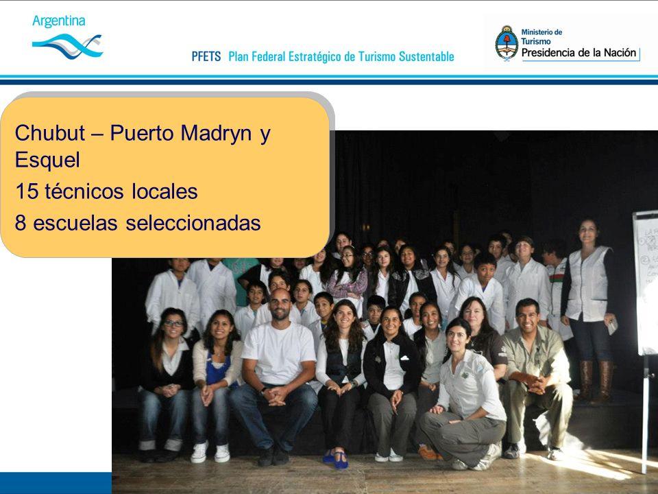 Chubut – Puerto Madryn y Esquel 15 técnicos locales 8 escuelas seleccionadas Chubut – Puerto Madryn y Esquel 15 técnicos locales 8 escuelas seleccionadas