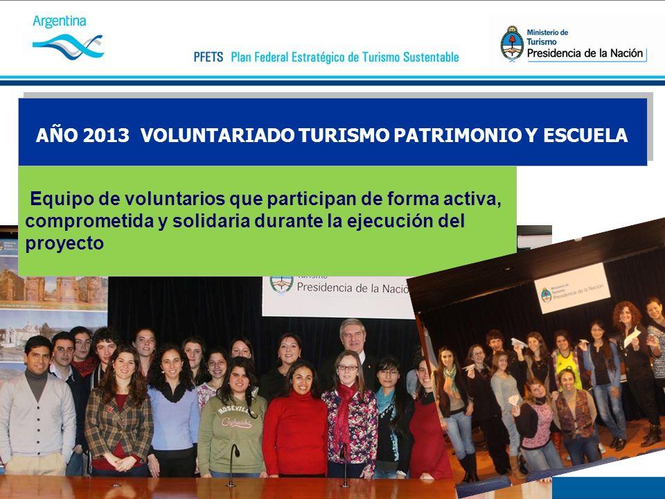 AÑO 2013 VOLUNTARIADO TURISMO PATRIMONIO Y ESCUELA Equipo de voluntarios que participan de forma activa, comprometida y solidaria durante la ejecución del proyecto