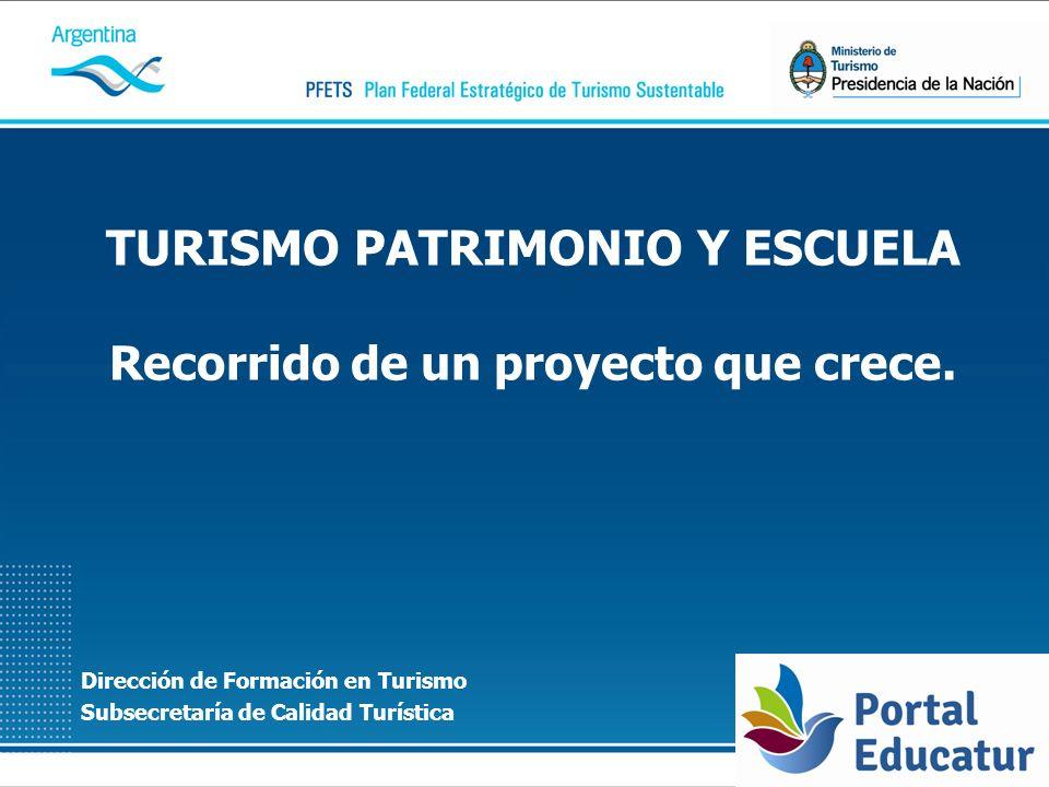 Dirección de Formación en Turismo Subsecretaría de Calidad Turística TURISMO PATRIMONIO Y ESCUELA Recorrido de un proyecto que crece.