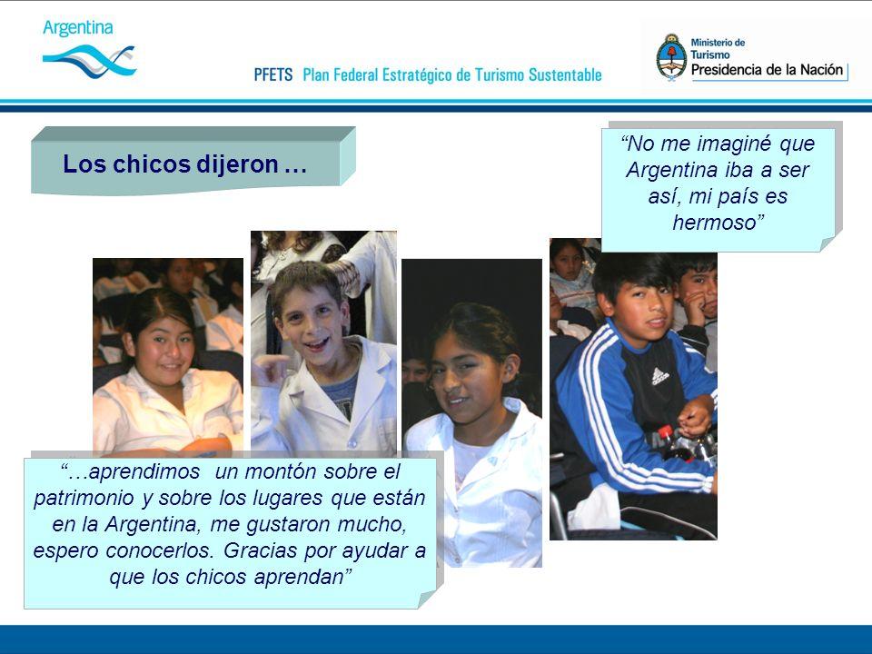 Los chicos dijeron … No me imaginé que Argentina iba a ser así, mi país es hermoso …aprendimos un montón sobre el patrimonio y sobre los lugares que están en la Argentina, me gustaron mucho, espero conocerlos.