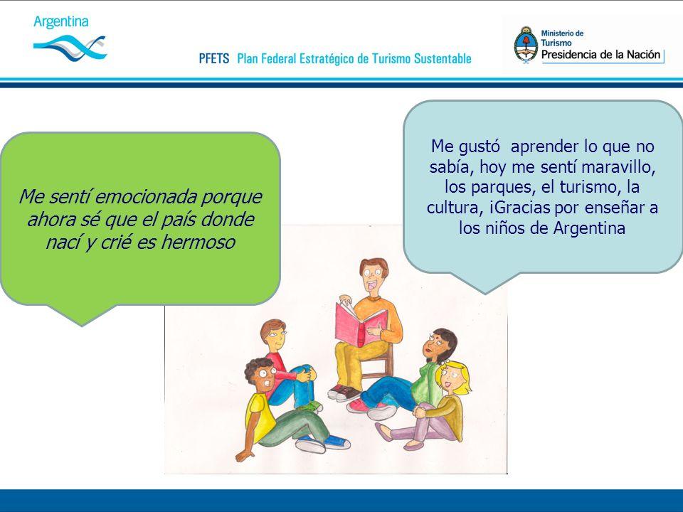 Me gustó aprender lo que no sabía, hoy me sentí maravillo, los parques, el turismo, la cultura, ¡Gracias por enseñar a los niños de Argentina Me sentí emocionada porque ahora sé que el país donde nací y crié es hermoso