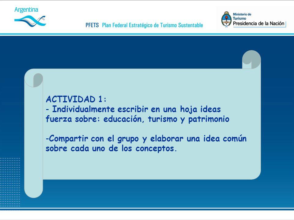 ACTIVIDAD 1: - Individualmente escribir en una hoja ideas fuerza sobre: educación, turismo y patrimonio -Compartir con el grupo y elaborar una idea común sobre cada uno de los conceptos.
