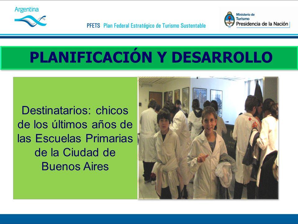 PLANIFICACIÓN Y DESARROLLO Destinatarios: chicos de los últimos años de las Escuelas Primarias de la Ciudad de Buenos Aires