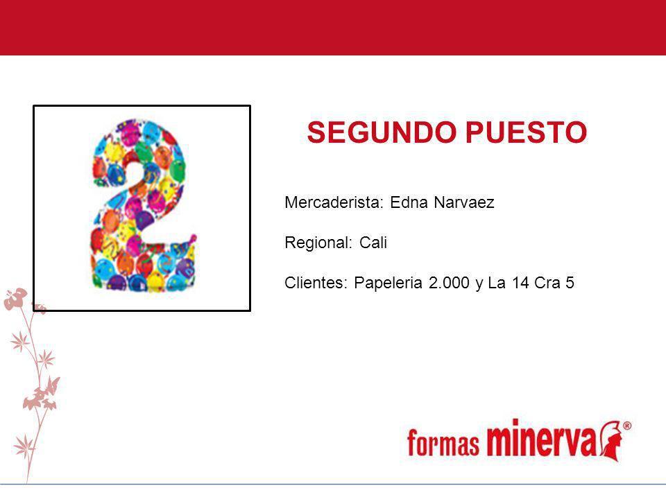 SEGUNDO PUESTO Mercaderista: Edna Narvaez Regional: Cali Clientes: Papeleria 2.000 y La 14 Cra 5