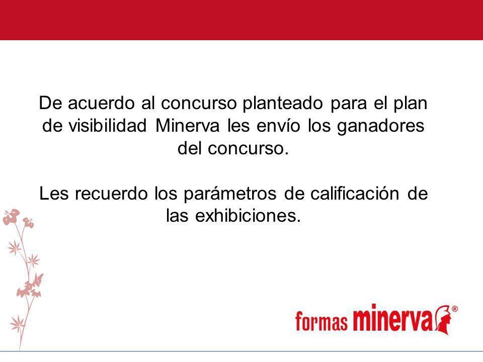 De acuerdo al concurso planteado para el plan de visibilidad Minerva les envío los ganadores del concurso. Les recuerdo los parámetros de calificación