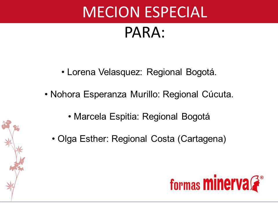 MECION ESPECIAL PARA: Lorena Velasquez: Regional Bogotá. Nohora Esperanza Murillo: Regional Cúcuta. Marcela Espitia: Regional Bogotá Olga Esther: Regi