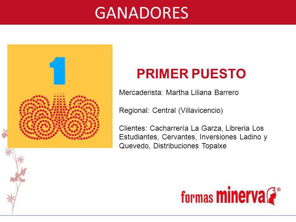 GANADORES PRIMER PUESTO Mercaderista: Martha Liliana Barrero Regional: Central (Villavicencio) Clientes: Cacharrería La Garza, Libreria Los Estudiante