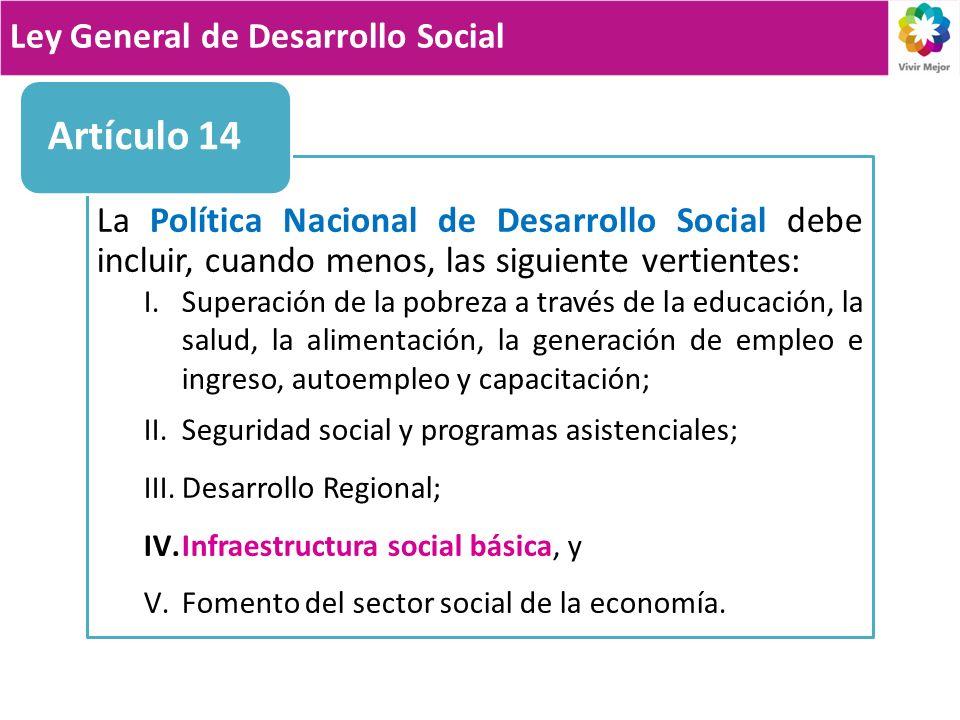 La Política Nacional de Desarrollo Social debe incluir, cuando menos, las siguiente vertientes: I.Superación de la pobreza a través de la educación, l