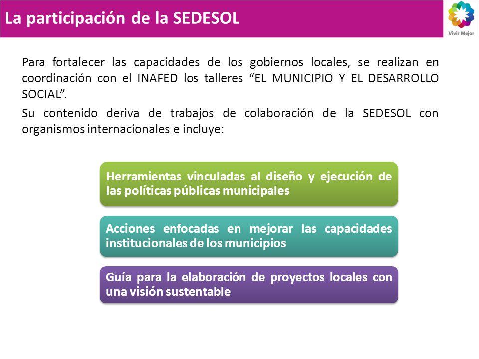 La participación de la SEDESOL Herramientas vinculadas al diseño y ejecución de las políticas públicas municipales Acciones enfocadas en mejorar las c