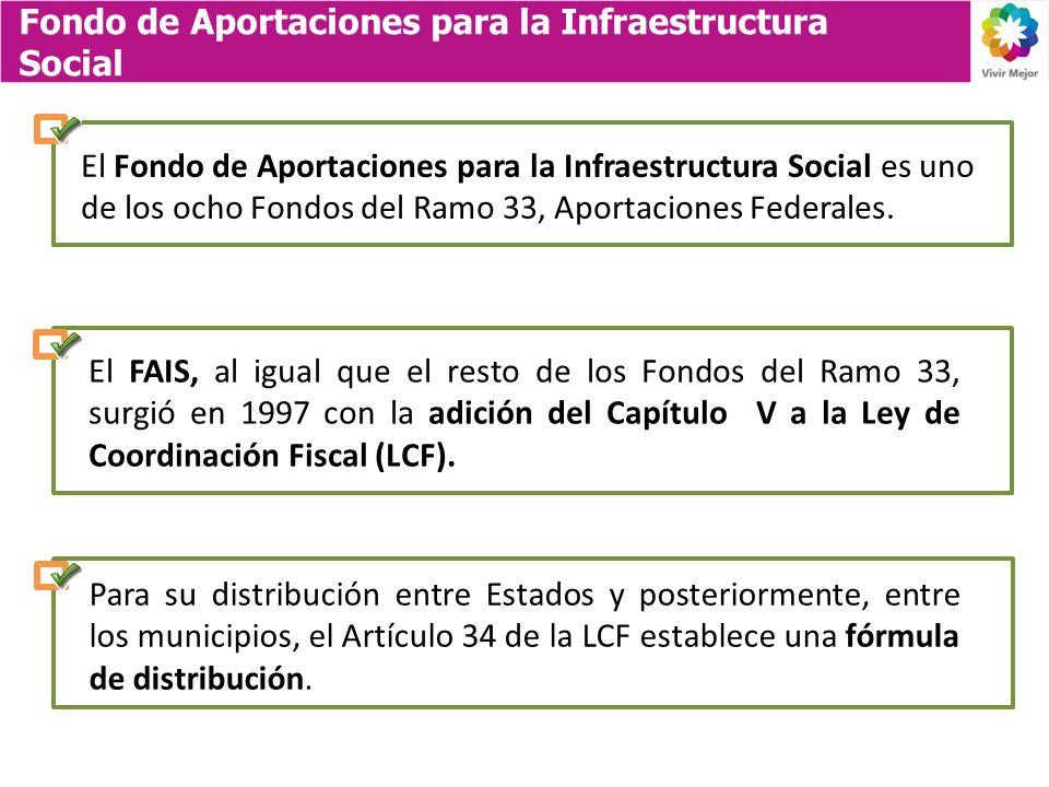 Fondo de Aportaciones para la Infraestructura Social El Fondo de Aportaciones para la Infraestructura Social es uno de los ocho Fondos del Ramo 33, Aportaciones Federales.