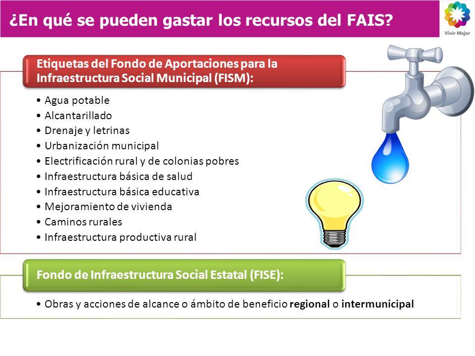 Agua potable Alcantarillado Drenaje y letrinas Urbanización municipal Electrificación rural y de colonias pobres Infraestructura básica de salud Infra