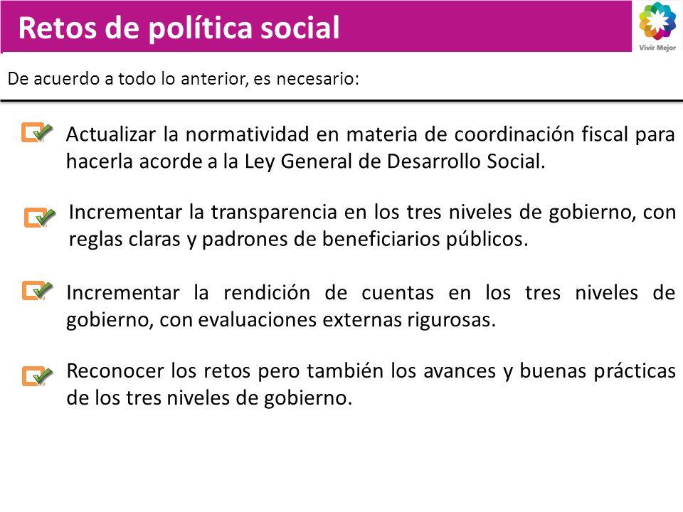 Retos de política social De acuerdo a todo lo anterior, es necesario: Incrementar la transparencia en los tres niveles de gobierno, con reglas claras y padrones de beneficiarios públicos.