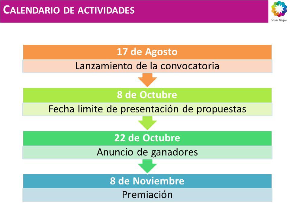 C ALENDARIO DE ACTIVIDADES 8 de Noviembre Premiación 22 de Octubre Anuncio de ganadores 8 de Octubre Fecha limite de presentación de propuestas 17 de Agosto Lanzamiento de la convocatoria
