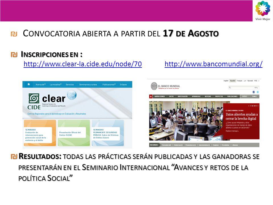 17 DE A GOSTO C ONVOCATORIA ABIERTA A PARTIR DEL 17 DE A GOSTO I NSCRIPCIONES EN : I NSCRIPCIONES EN : http://www.clear-la.cide.edu/node/70http://www.clear-la.cide.edu/node/70 http://www.bancomundial.org/http://www.bancomundial.org/ R ESULTADOS : TODAS LAS PRÁCTICAS SERÁN PUBLICADAS Y LAS GANADORAS SE PRESENTARÁN EN EL S EMINARIO I NTERNACIONAL A VANCES Y RETOS DE LA POLÍTICA S OCIAL R ESULTADOS : TODAS LAS PRÁCTICAS SERÁN PUBLICADAS Y LAS GANADORAS SE PRESENTARÁN EN EL S EMINARIO I NTERNACIONAL A VANCES Y RETOS DE LA POLÍTICA S OCIAL