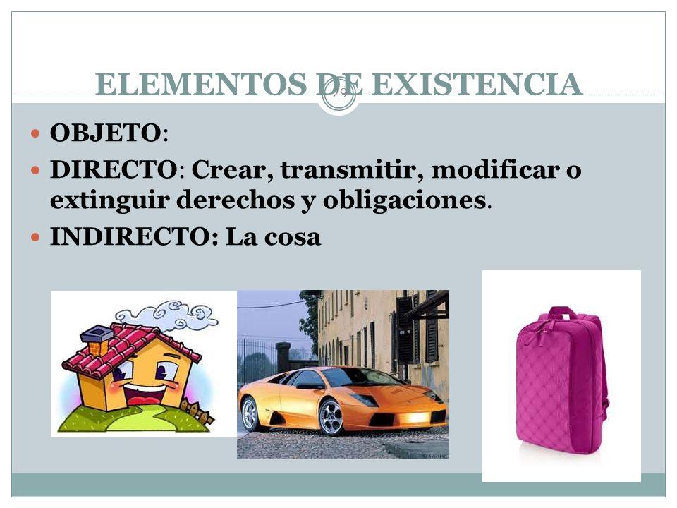 ELEMENTOS DE EXISTENCIA y VALIDEZ DEL ACTO JURÍDICO 28 Existencia: Consentimiento y Objeto, en algunos casos Solemnidad.