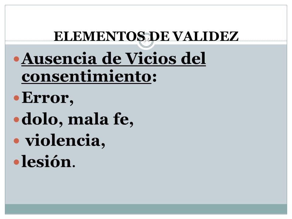 ELEMENTOS DE VALIDEZ 33 2 casos especiales: EMANCIPADOS INTERDICTOS (Estado de interdicción)