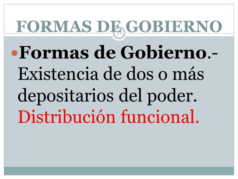 FORMAS DE ESTADO 51 Formas de estado.- Forma de organización política en su totalidad y unidad. Distribución espacial o territorial del poder.