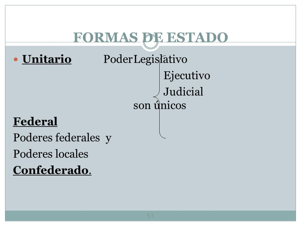 FORMAS DE GOBIERNO 52 Formas de Gobierno.- Existencia de dos o más depositarios del poder. Distribución funcional.