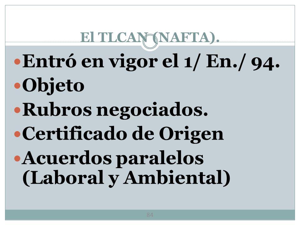 El TLCAN (NAFTA). 83