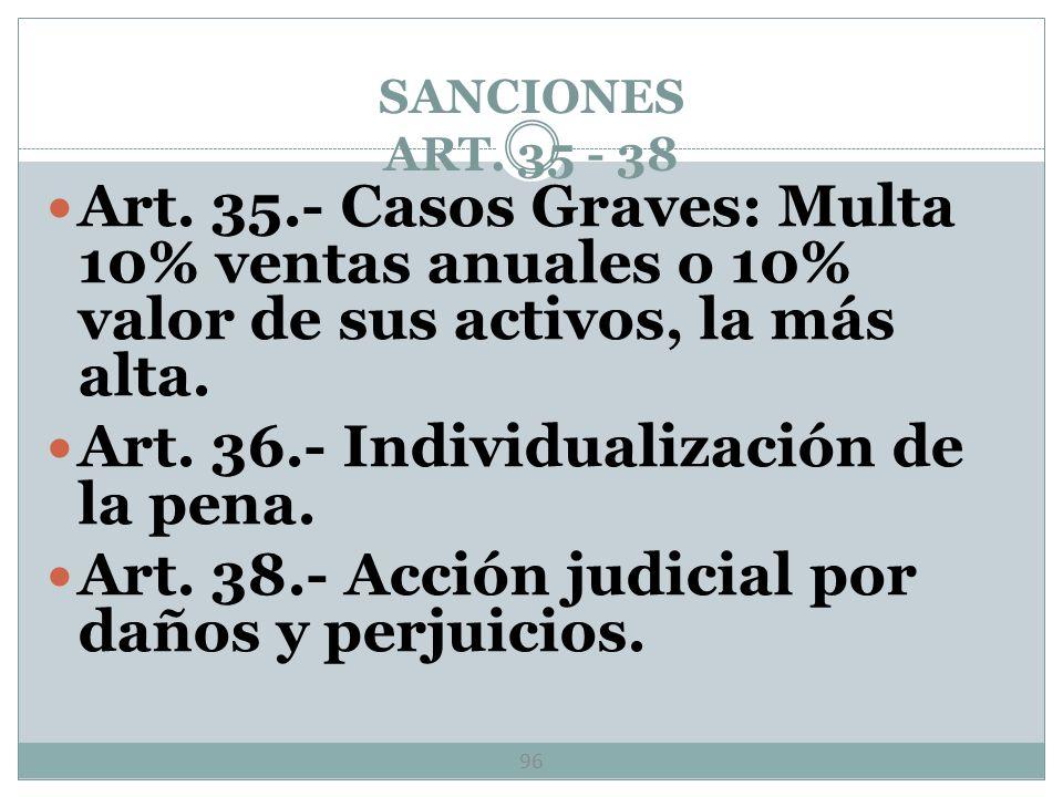 SANCIONES ART. 35 - 38 95 Multa hasta 1, 500, 000 veces SMGDF por haber incurrido en práctica monopólica absoluta. Multa hasta 900, 000 SMGDF por habe
