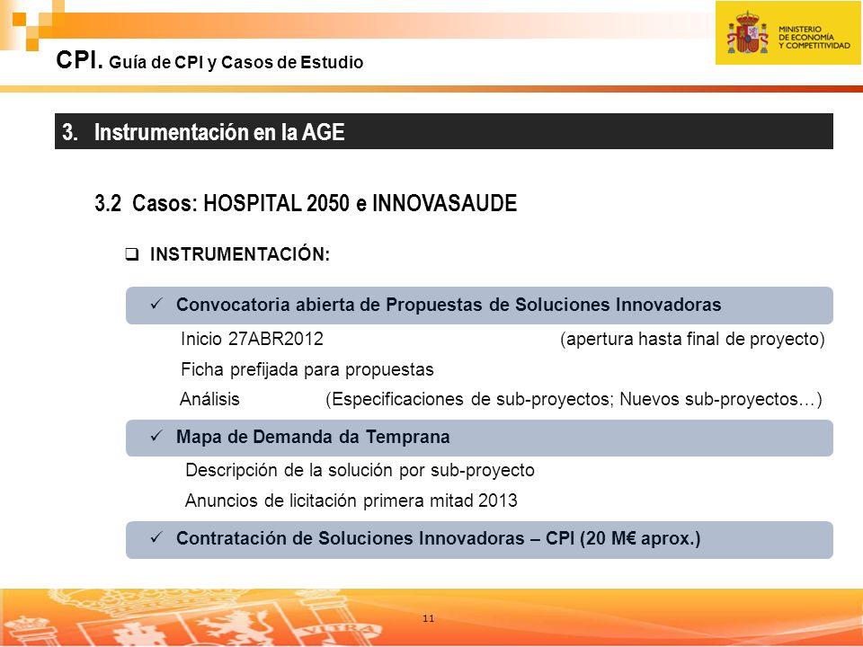 11 CPI. Guía de CPI y Casos de Estudio 3. Instrumentación en la AGE 3.2 Casos: HOSPITAL 2050 e INNOVASAUDE INSTRUMENTACIÓN: Convocatoria abierta de Pr