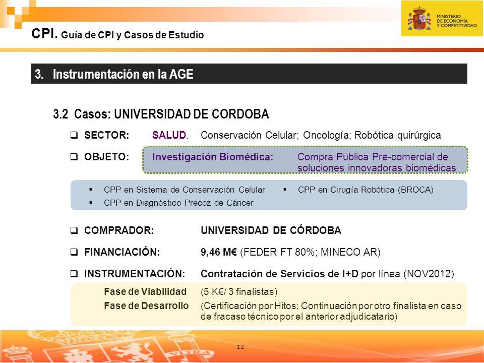 12 CPI. Guía de CPI y Casos de Estudio 3. Instrumentación en la AGE 3.2 Casos: UNIVERSIDAD DE CORDOBA SECTOR:SALUD. Conservación Celular; Oncología; R