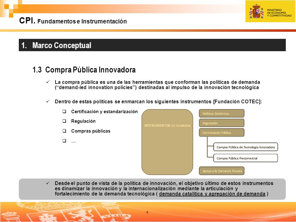 4 CPI. Fundamentos e Instrumentación 1. Marco Conceptual 1.3 Compra Pública Innovadora La compra pública es una de las herramientas que conforman las