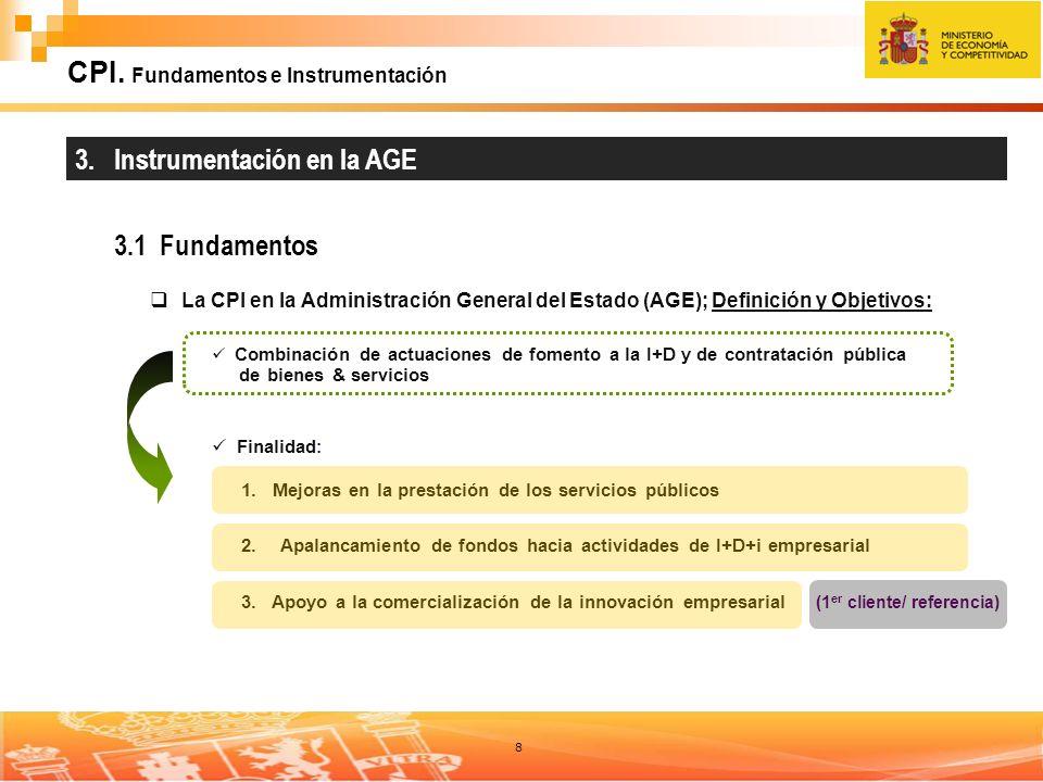 8 CPI. Fundamentos e Instrumentación 3. Instrumentación en la AGE 3.1 Fundamentos La CPI en la Administración General del Estado (AGE); Definición y O