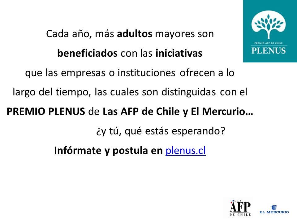 Cada año, más adultos mayores son beneficiados con las iniciativas que las empresas o instituciones ofrecen a lo largo del tiempo, las cuales son distinguidas con el PREMIO PLENUS de Las AFP de Chile y El Mercurio… ¿y tú, qué estás esperando.