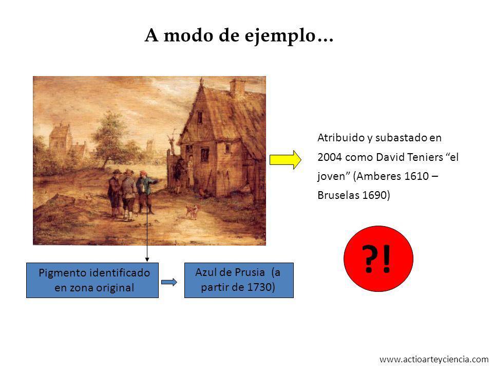 www.actioarteyciencia.com Pigmento identificado en zona original Atribuido y subastado en 2004 como David Teniers el joven (Amberes 1610 – Bruselas 16