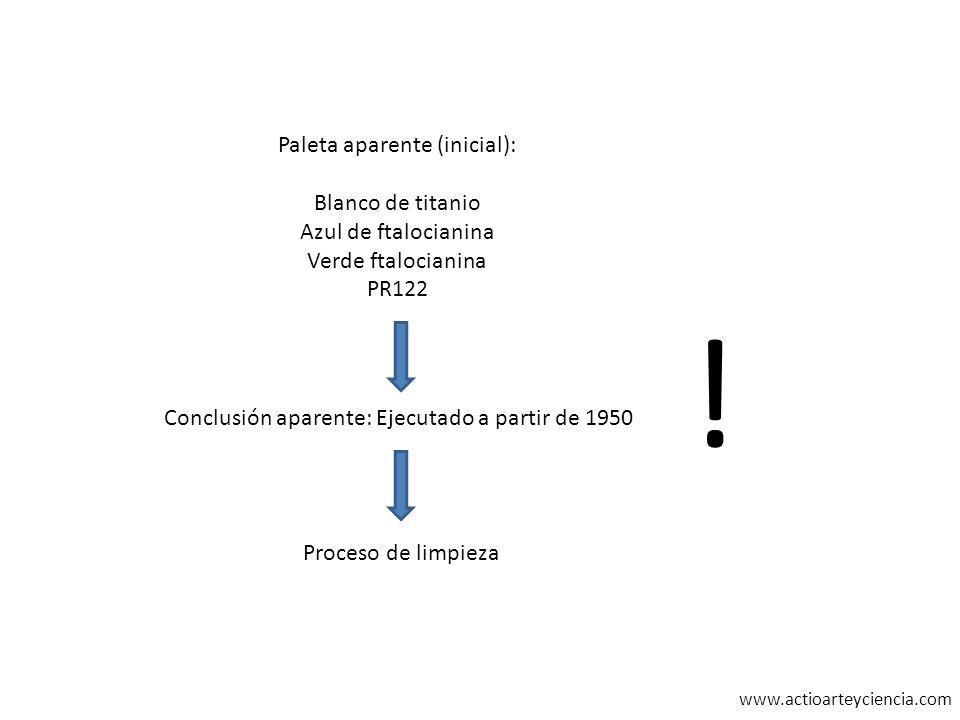www.actioarteyciencia.com Paleta aparente (inicial): Blanco de titanio Azul de ftalocianina Verde ftalocianina PR122 Conclusión aparente: Ejecutado a