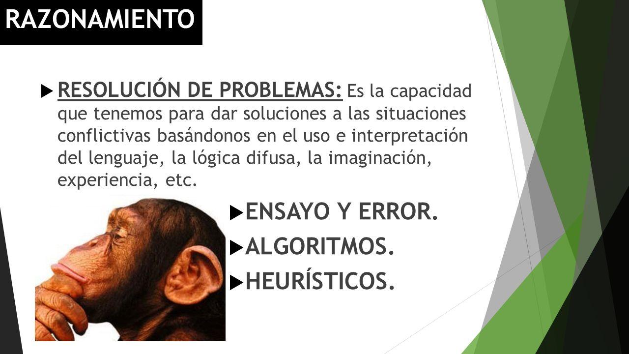 RAZONAMIENTO RESOLUCIÓN DE PROBLEMAS: Es la capacidad que tenemos para dar soluciones a las situaciones conflictivas basándonos en el uso e interpreta