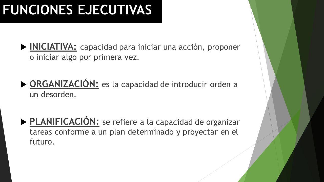 FUNCIONES EJECUTIVAS INICIATIVA: capacidad para iniciar una acción, proponer o iniciar algo por primera vez. ORGANIZACIÓN: es la capacidad de introduc