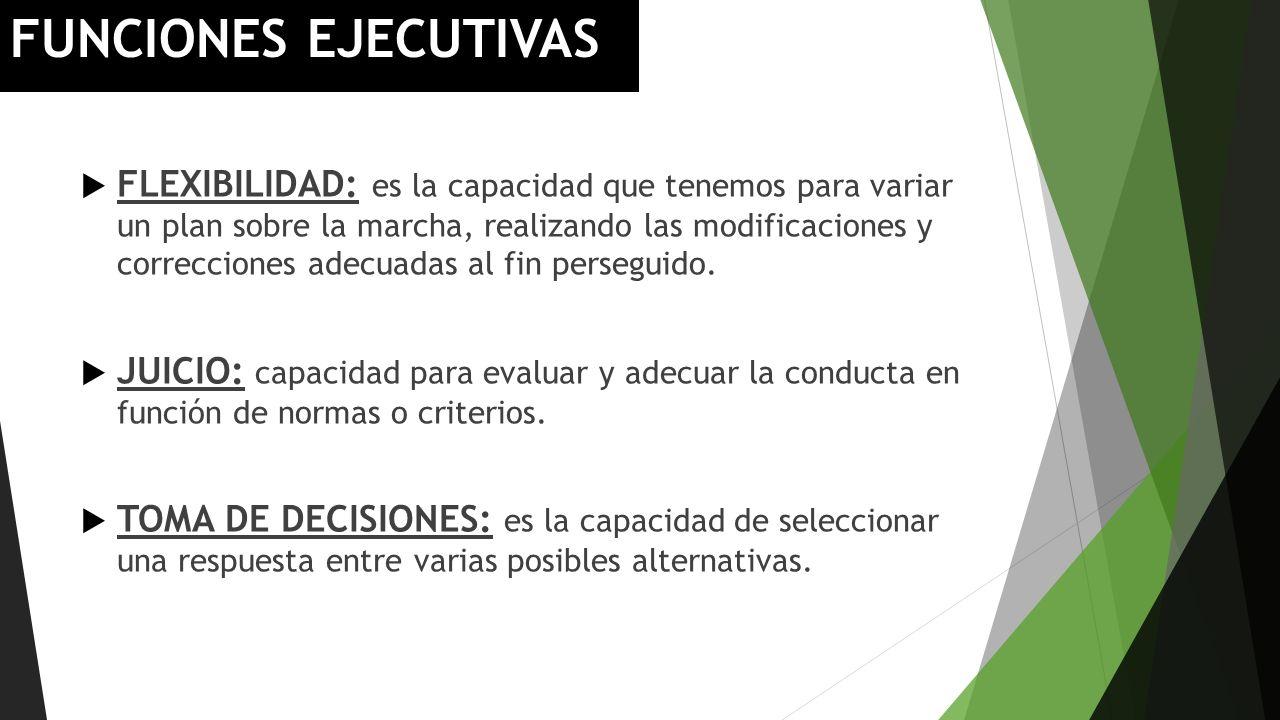 FUNCIONES EJECUTIVAS FLEXIBILIDAD: es la capacidad que tenemos para variar un plan sobre la marcha, realizando las modificaciones y correcciones adecu
