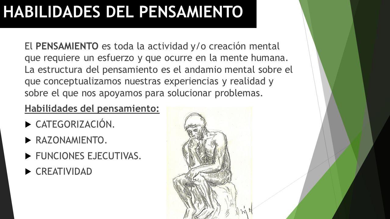 HABILIDADES DEL PENSAMIENTO El PENSAMIENTO es toda la actividad y/o creación mental que requiere un esfuerzo y que ocurre en la mente humana. La estru