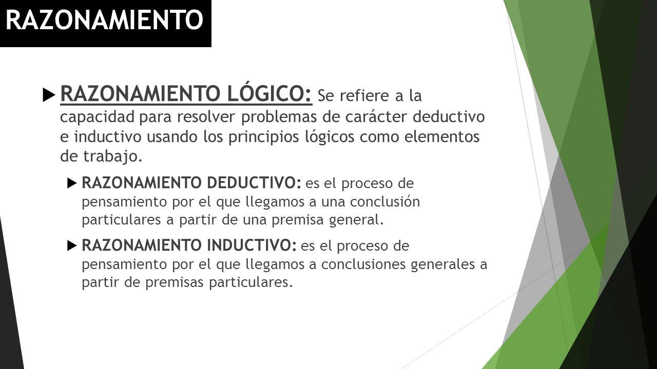RAZONAMIENTO RAZONAMIENTO LÓGICO: Se refiere a la capacidad para resolver problemas de carácter deductivo e inductivo usando los principios lógicos co