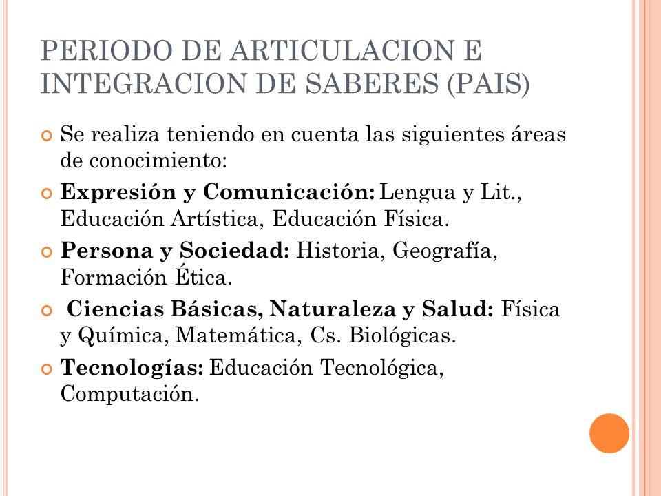 PERIODO DE ARTICULACION E INTEGRACION DE SABERES (PAIS) Se realiza teniendo en cuenta las siguientes áreas de conocimiento: Expresión y Comunicación: Lengua y Lit., Educación Artística, Educación Física.