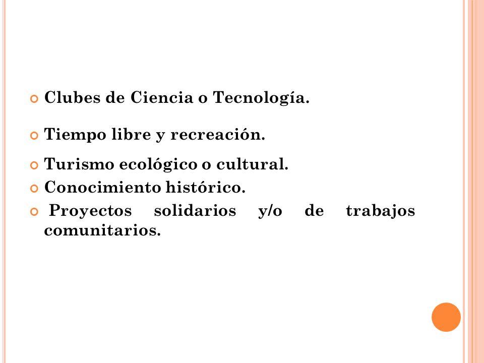 Clubes de Ciencia o Tecnología.Tiempo libre y recreación.