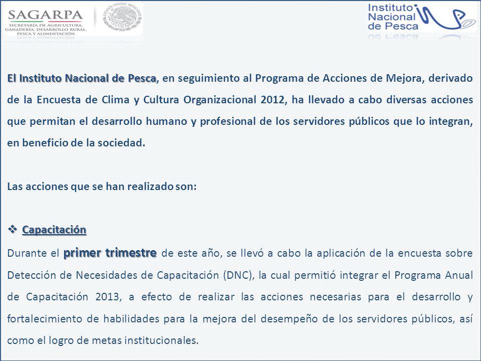 El Instituto Nacional de Pesca El Instituto Nacional de Pesca, en seguimiento al Programa de Acciones de Mejora, derivado de la Encuesta de Clima y Cu
