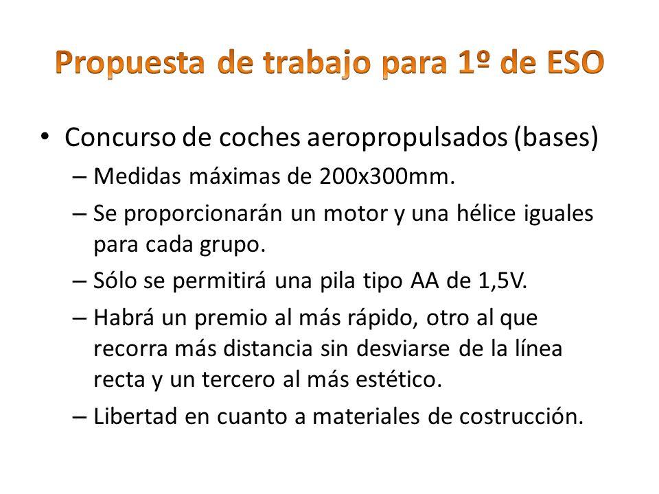 Concurso de coches aeropropulsados (bases) – Medidas máximas de 200x300mm. – Se proporcionarán un motor y una hélice iguales para cada grupo. – Sólo s