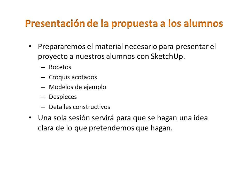 Prepararemos el material necesario para presentar elproyecto a nuestros alumnos con SketchUp. – Bocetos – Croquis acotados – Modelos de ejemplo – Desp