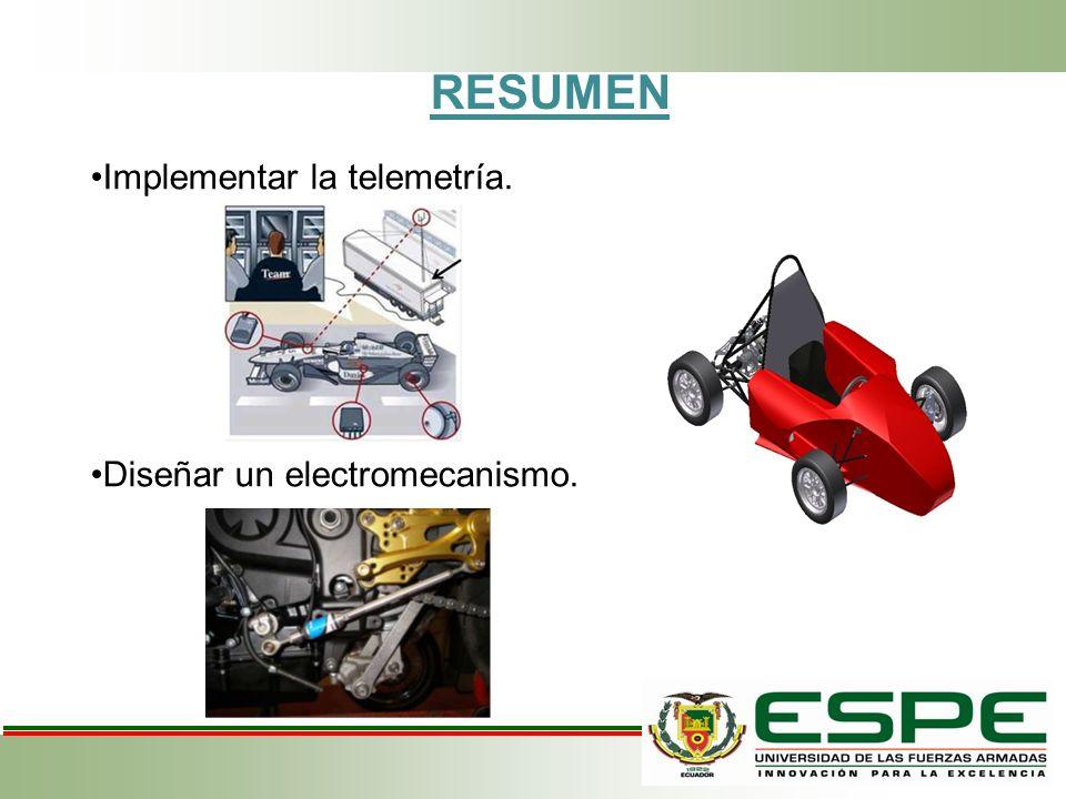 RESUMEN Implementar la telemetría. Diseñar un electromecanismo.