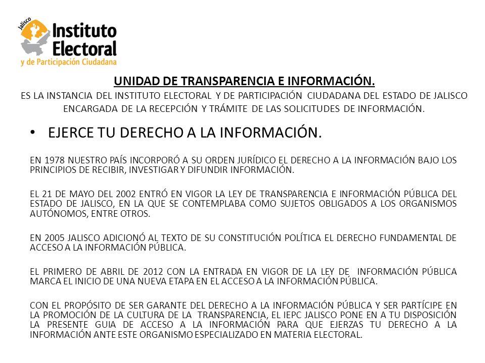 UNIDAD DE TRANSPARENCIA E INFORMACIÓN.