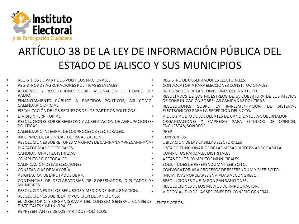 ARTÍCULO 38 DE LA LEY DE INFORMACIÓN PÚBLICA DEL ESTADO DE JALISCO Y SUS MUNICIPIOS REGISTROS DE PARTIDOS POLÍTICOS NACIONALES REGISTROS DE AGRUPACIONES POLÍTICAS ESTATALES ACUERDOS Y RESOLUCIONES SOBRE ASIGNACIÓN DE TIEMPO DE RADIO.