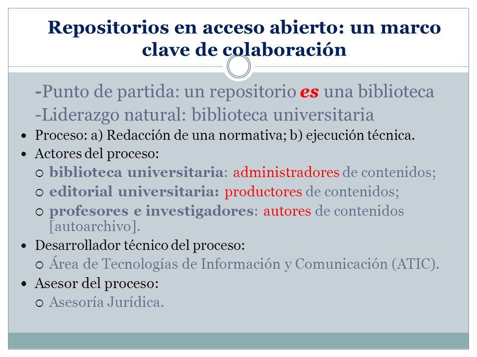 Repositorios en acceso abierto: un marco clave de colaboración -Punto de partida: un repositorio es una biblioteca -Liderazgo natural: biblioteca universitaria Proceso: a) Redacción de una normativa; b) ejecución técnica.