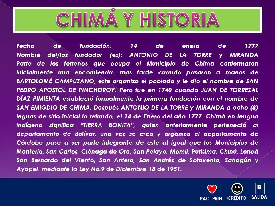 Fecha de fundación: 14 de enero de 1777 Nombre del/los fundador (es): ANTONIO DE LA TORRE y MIRANDA Parte de los terrenos que ocupa el Municipio de Ch